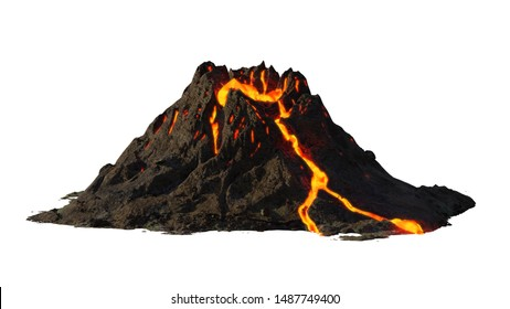 volcano eruption, lava coming down a mountain, isolated on white background (3d science rendering)