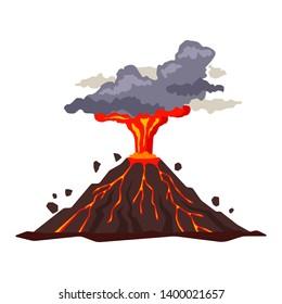 Volcano eruption with magma, smoke, ashes isolated on white background. Volcanic activity hot lava eruption - flat  illustration