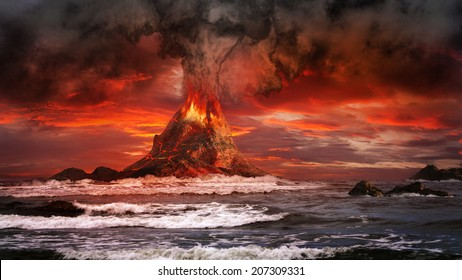 Volcano eruption on the sea