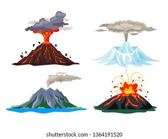 Volcano eruption set with magma, smoke, ashes isolated on white background. Volcanic activity hot lava eruption, sleeping and erupting volcanoes - flat  illustration