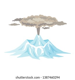 Volcano eruption with smoke, ashes isolated on white background. Volcanic activity, sleeping volcano - flat illustration