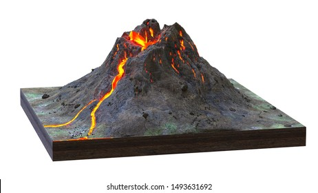 volcano erupts lava, cross section model isolated on white background (3d science render)