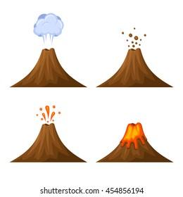 Volcano Icon Set Isolated on White Background.