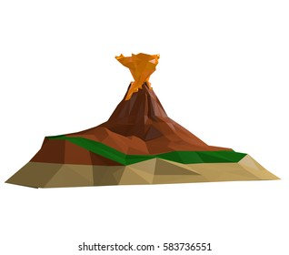 Volcano Island 3D Illustration polygonal style