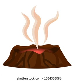 Volcano stopped eruption of lava smoke over top crater isolated on white background. mountain with and red center hot thermal disaster raster illustration in flat design cartoon style