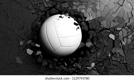 Volleyball ball breaking with great force through a black wall. 3d illustration.