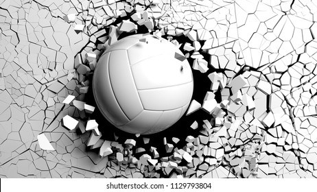 Volleyball ball breaking with great force through a white wall. 3d illustration.