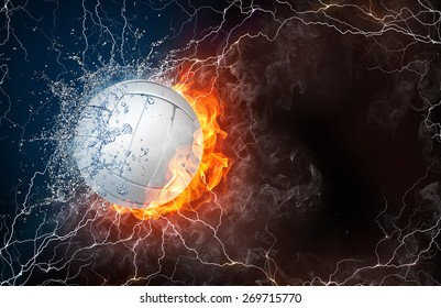 Volleyball ball on fire and water with lightening around on black background. Horizontal layout with text space.