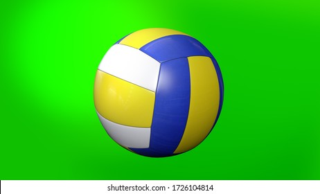 Volleyball Ball on Green Screen Volleyball Ball 3d Animation of Spinning Ball