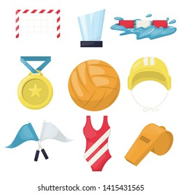 Volleyball water sport player accessories beachball icons illustration. Healthy volley ball training pool. Water polo club beachvolleyball. Game team play volleying.