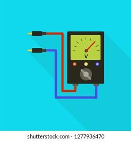 Volt meter icon. Flat illustration of volt meter icon for web design