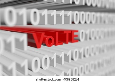 VoLTE in the form of a binary code with blurred background 3D illustration