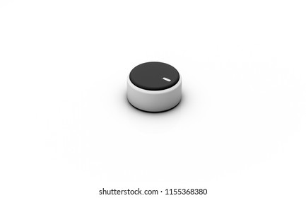 Volume button black silver on white background 3d illustration