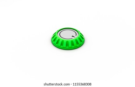 Volume button green with arrow on white background 3d illustration