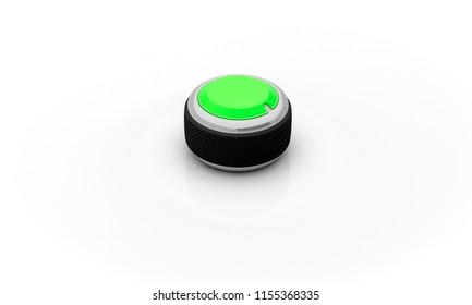 Volume button green black ring on white background 3d illustration
