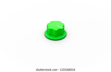 Volume button green on white background 3d illustration