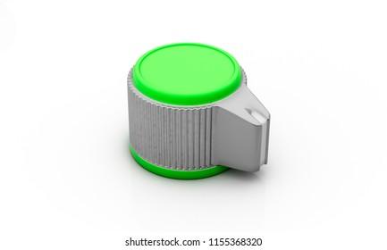 Volume button green silver on white background 3d illustration