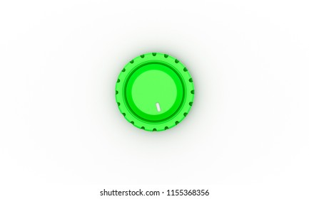Volume button green top down on white background 3d illustration