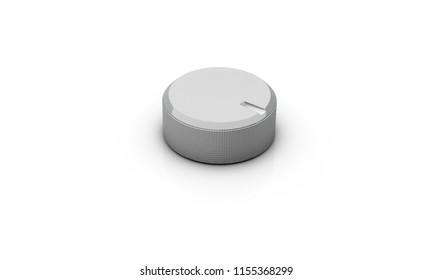 Volume button silver on white background 3d illustration