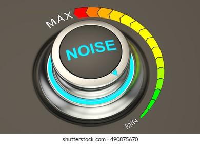 volume knob, min level of noise. 3D rendering