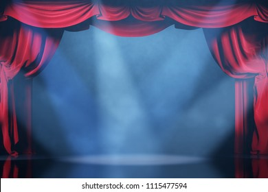 Volume light and smoke on the theater stage with red velvet curtains. 3d illustration