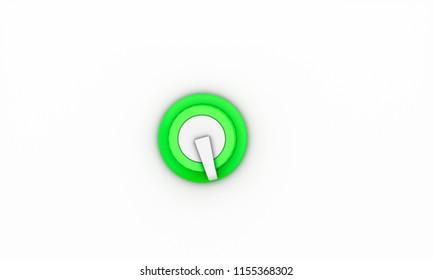 Volume switch green on white background 3d illustration