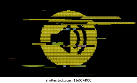 The volume symbol created with yellow ASCII characters. Heavy digital glitch distortion fx applied.