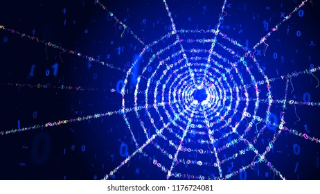 A volumetric 3d illustration of a cyan spider net looking portal with a plasma center in the blue background. It rotates slowly among flying cyberspace digits forming sparkling beams.