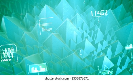 Volumetric 3d illustration of nano pyramids with see-through slopes, spinning spirals, changing words, shimmering digits in the celeste background. It looks futuristic and sci-fi.