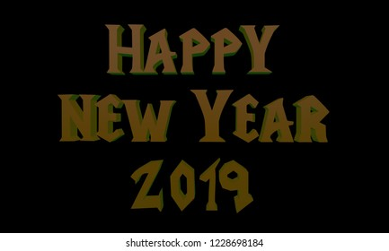 "Volumetric 3D inscription ""Happy New Year 2019"" in the style of Warcraft, 3D rendering."