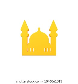 Volumetric 3D Mosque Muslim icon image included alpha layer