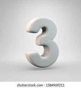 Volumetric construction foam number 3 isolated on white background. 3D rendered alphabet. Modern font for banner, poster, cover, logo design template element.