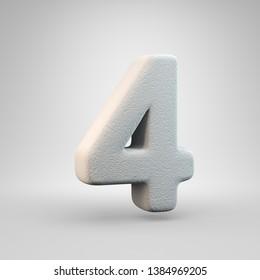 Volumetric construction foam number 4 isolated on white background. 3D rendered alphabet. Modern font for banner, poster, cover, logo design template element.