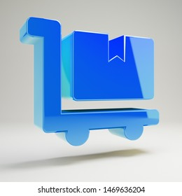 Volumetric glossy blue Dolly Flatbed icon isolated on white background. 3D rendered digital symbol. Modern icon for website, internet marketing, presentation, logo design template element.