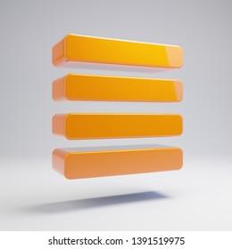 Volumetric glossy hot orange Align Justify icon isolated on white background. 3D rendered digital symbol. Modern icon for website, internet marketing, presentation, logo design template element.