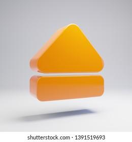 Volumetric glossy hot orange Eject icon isolated on white background. 3D rendered digital symbol. Modern icon for website, internet marketing, presentation, logo design template element.