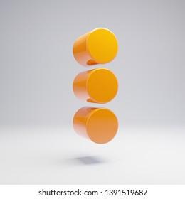 Volumetric glossy hot orange Ellipsis Vertical icon isolated on white background. 3D rendered digital symbol. Modern icon for website, internet marketing, presentation, logo design template element.