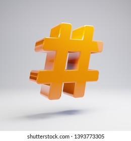 Volumetric glossy hot orange Hashtag icon isolated on white background. 3D rendered digital symbol. Modern icon for website, internet marketing, presentation, logo design template element.