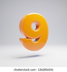 Volumetric glossy hot orange number 9 isolated on white background. 3D rendered alphabet. Modern font for banner, poster, cover, logo design template element.