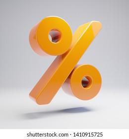 Volumetric glossy hot orange Percent icon isolated on white background. 3D rendered digital symbol. Modern icon for website, internet marketing, presentation, logo design template element.