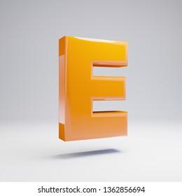 Volumetric glossy hot orange uppercase letter E isolated on white background. 3D rendered alphabet. Modern font for banner, poster, cover, logo design template element.