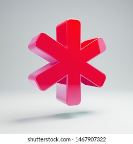 Volumetric glossy hot pink Asterisk icon isolated on white background. 3D rendered digital symbol. Modern icon for website, internet marketing, presentation, logo design template element.