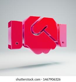 Volumetric glossy hot pink Handshake icon isolated on white background. 3D rendered digital symbol. Modern icon for website, internet marketing, presentation, logo design template element.