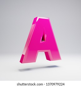 Volumetric glossy pink uppercase letter A isolated on white background. 3D rendered alphabet. Modern font for banner, poster, cover, logo design template element.