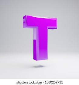 Volumetric glossy violet uppercase letter T isolated on white background. 3D rendered alphabet. Modern font for banner, poster, cover, logo design template element.