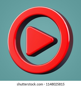 Volumetric icon play. 3D rendering