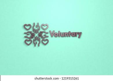 Voluntary 3D illustration, violet color on light background.