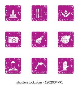 Voluntary donation icons set. Grunge set of 9 voluntary donation icons for web isolated on white background