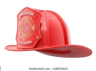 Volunteer firefighter helmet isolated on white background - 3D illustration