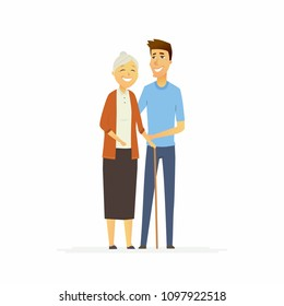 Volunteer with a senior woman - cartoon people characters isolated illustration on white background. Young male worker stands with a smiling grandmother with a cane and helps her to walk